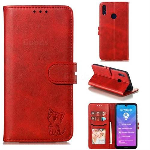 Embossing Happy Cat Leather Wallet Case for Huawei Enjoy 9 - Red