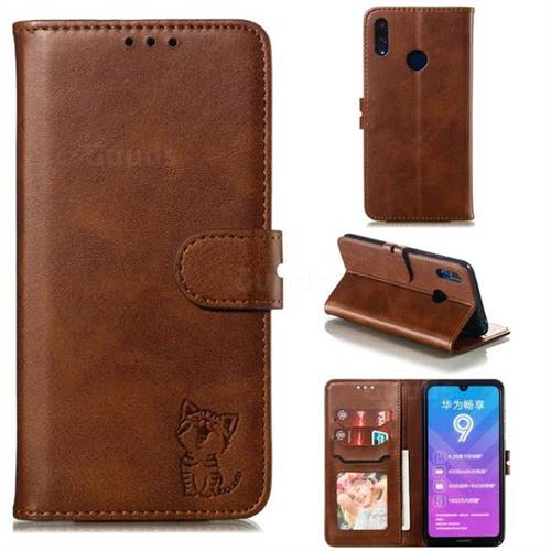 Embossing Happy Cat Leather Wallet Case for Huawei Enjoy 9 - Brown