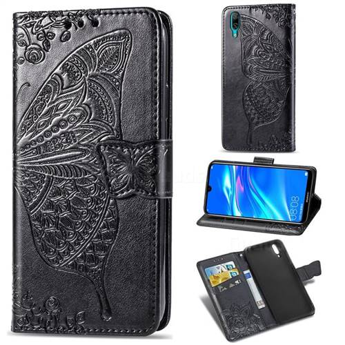 Embossing Mandala Flower Butterfly Leather Wallet Case for Huawei Enjoy 9 - Black