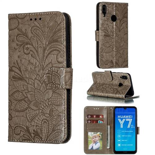 Intricate Embossing Lace Jasmine Flower Leather Wallet Case for Huawei Enjoy 9 - Gray