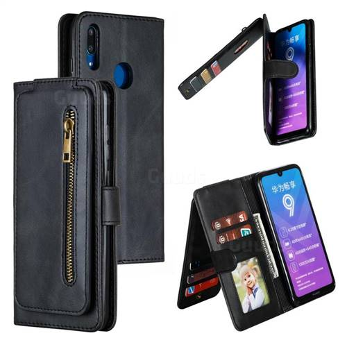 Multifunction 9 Cards Leather Zipper Wallet Phone Case for Huawei Enjoy 9 - Black