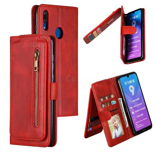 Multifunction 9 Cards Leather Zipper Wallet Phone Case for Huawei Enjoy 9 - Red