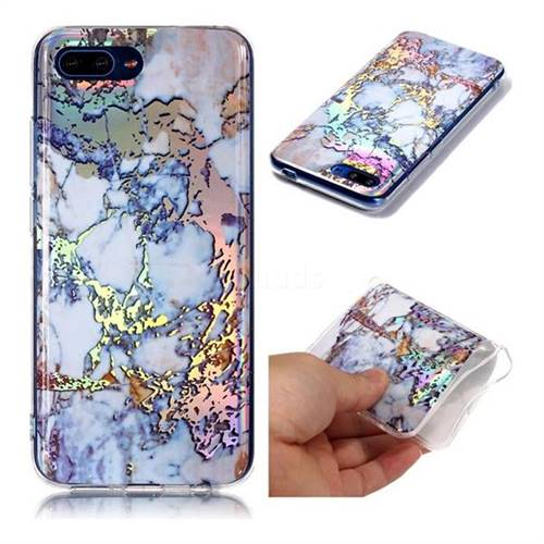 Gold Plating Marble Pattern Bright Color Laser Soft TPU Case for Huawei Honor 10