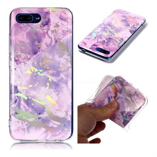 Purple Marble Pattern Bright Color Laser Soft TPU Case for Huawei Honor 10