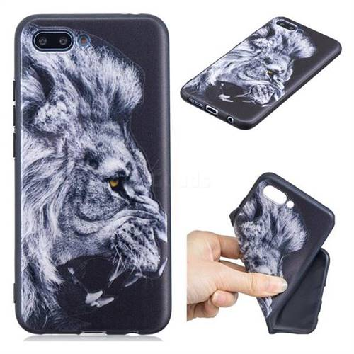 Lion 3D Embossed Relief Black TPU Cell Phone Back Cover for Huawei Honor 10
