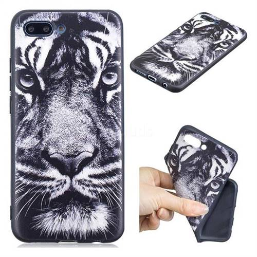 White Tiger 3D Embossed Relief Black TPU Cell Phone Back Cover for Huawei Honor 10