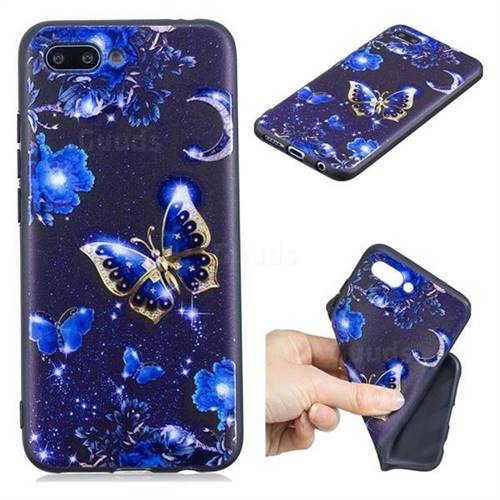 Phnom Penh Butterfly 3D Embossed Relief Black TPU Cell Phone Back Cover for Huawei Honor 10
