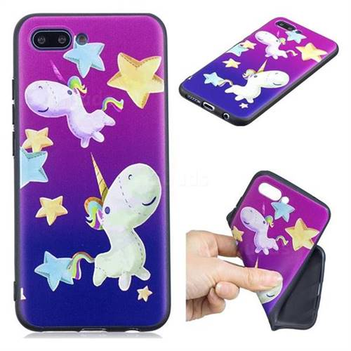 Pony 3D Embossed Relief Black TPU Cell Phone Back Cover for Huawei Honor 10