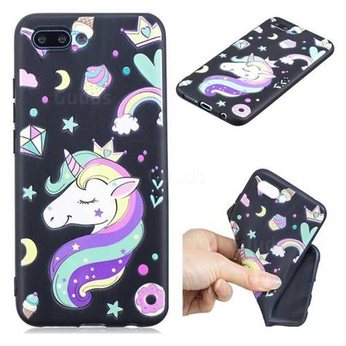 Candy Unicorn 3D Embossed Relief Black TPU Cell Phone Back Cover for Huawei Honor 10