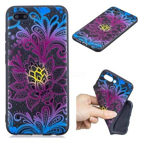 Colorful Lace 3D Embossed Relief Black TPU Cell Phone Back Cover for Huawei Honor 10