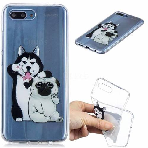 Selfie Dog Clear Varnish Soft Phone Back Cover for Huawei Honor 10