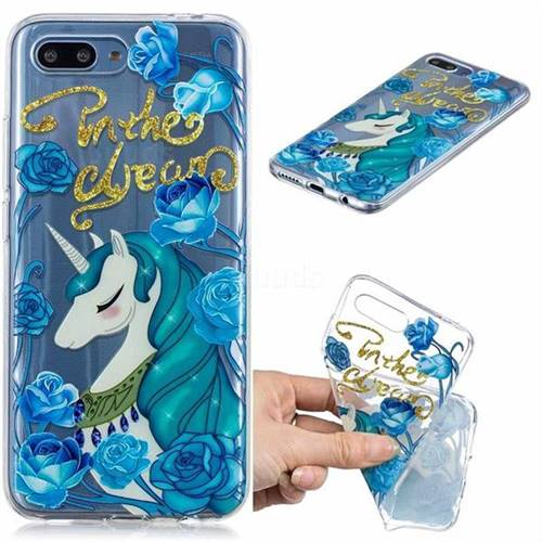 Blue Flower Unicorn Clear Varnish Soft Phone Back Cover for Huawei Honor 10