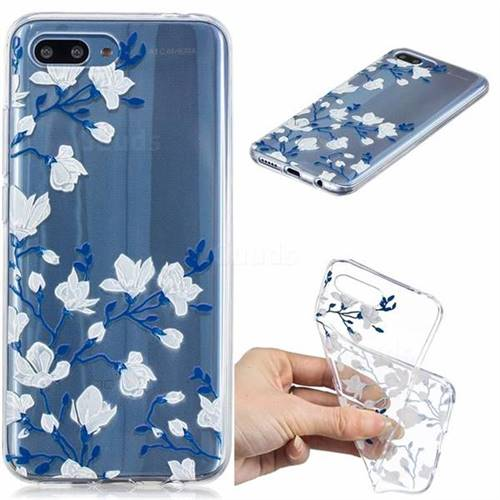 Magnolia Flower Clear Varnish Soft Phone Back Cover for Huawei Honor 10