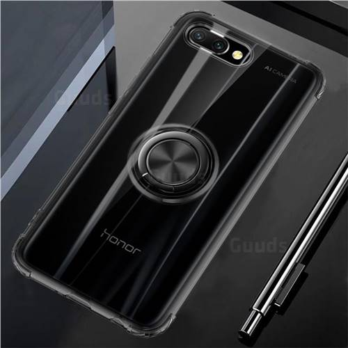 Anti-fall Invisible Press Bounce Ring Holder Phone Cover for Huawei Honor 10 - Elegant Black