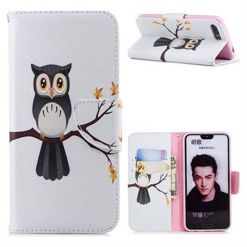 Owl on Tree Leather Wallet Case for Huawei Honor 10
