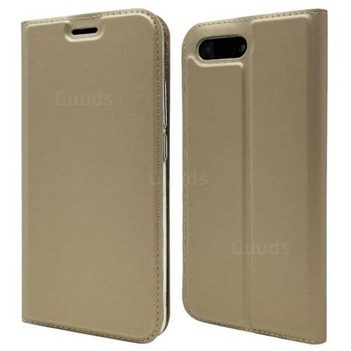 Ultra Slim Card Magnetic Automatic Suction Leather Wallet Case for Huawei Honor 10 - Champagne