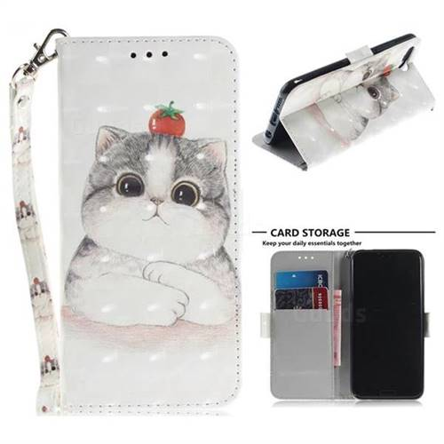 Cute Tomato Cat 3D Painted Leather Wallet Phone Case for Huawei Honor 10