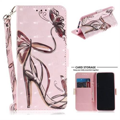 Butterfly High Heels 3D Painted Leather Wallet Phone Case for Huawei Honor 10
