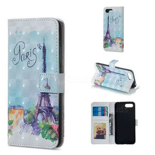 Paris Tower 3D Painted Leather Phone Wallet Case for Huawei Honor 10