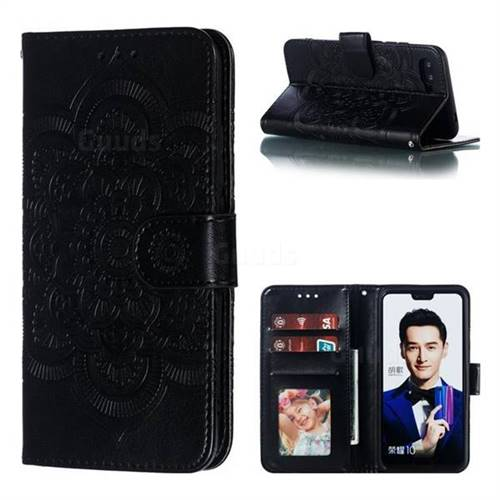 Intricate Embossing Datura Solar Leather Wallet Case for Huawei Honor 10 - Black