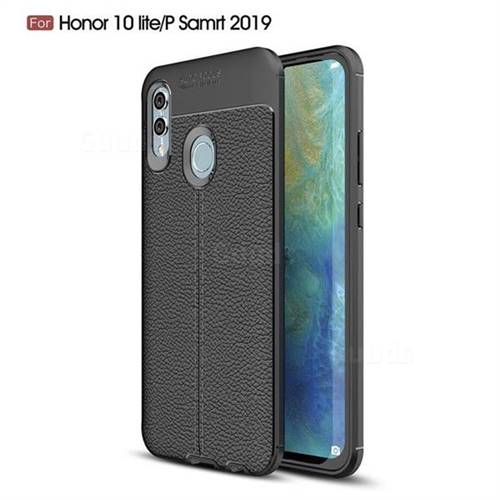 Luxury Auto Focus Litchi Texture Silicone TPU Back Cover for Huawei Honor 10 Lite - Black