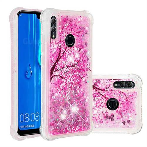 Pink Cherry Blossom Dynamic Liquid Glitter Sand Quicksand Star TPU Case for Huawei Honor 10 Lite