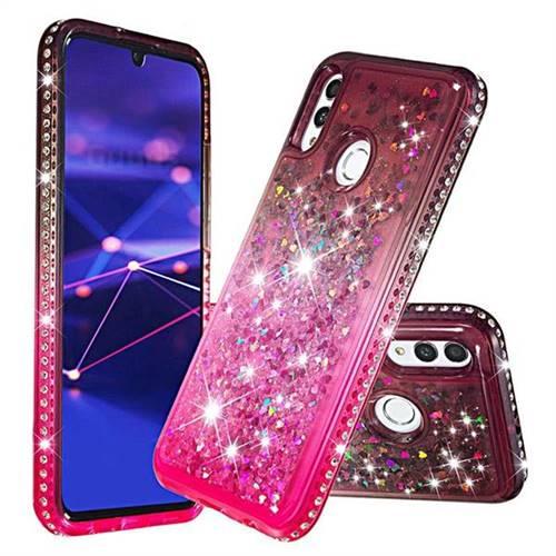 Diamond Frame Liquid Glitter Quicksand Sequins Phone Case for Huawei Honor 10 Lite - Gray Pink