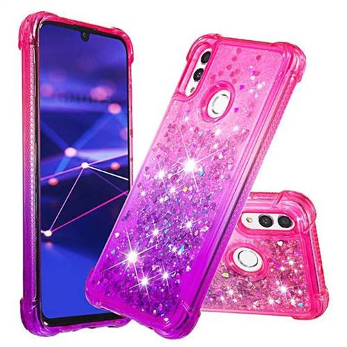 Rainbow Gradient Liquid Glitter Quicksand Sequins Phone Case for Huawei Honor 10 Lite - Pink Purple