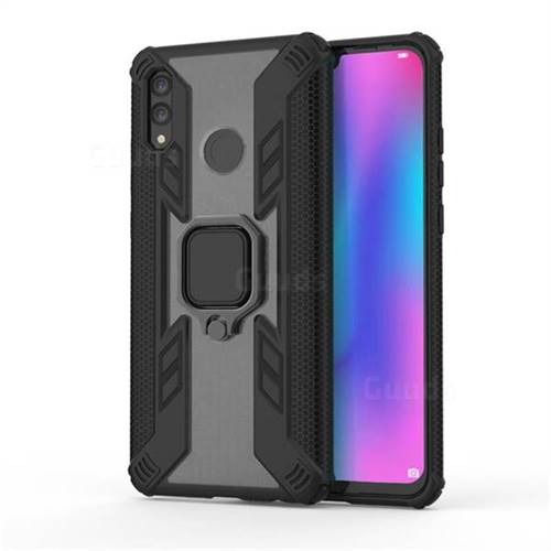 Predator Armor Metal Ring Grip Shockproof Dual Layer Rugged Hard Cover for Huawei Honor 10 Lite - Black