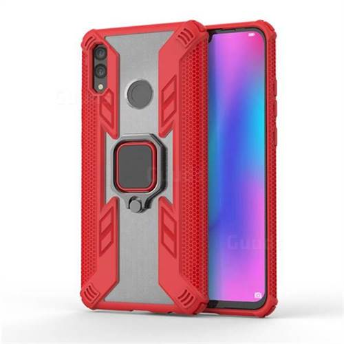 Predator Armor Metal Ring Grip Shockproof Dual Layer Rugged Hard Cover for Huawei Honor 10 Lite - Red