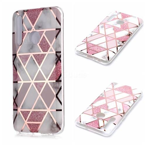 Pink Rhombus Galvanized Rose Gold Marble Phone Back Cover for Huawei Honor 10 Lite