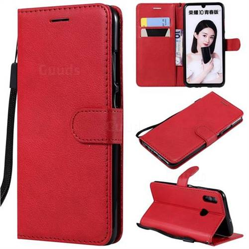 Retro Greek Classic Smooth PU Leather Wallet Phone Case for Huawei Honor 10 Lite - Red