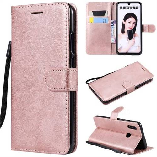 Retro Greek Classic Smooth PU Leather Wallet Phone Case for Huawei Honor 10 Lite - Rose Gold