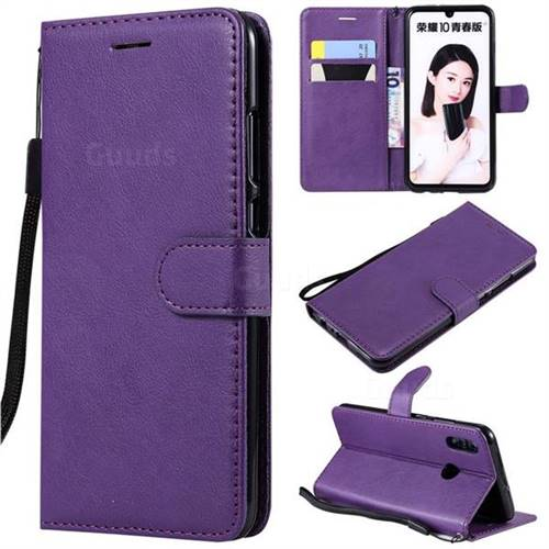 Retro Greek Classic Smooth PU Leather Wallet Phone Case for Huawei Honor 10 Lite - Purple