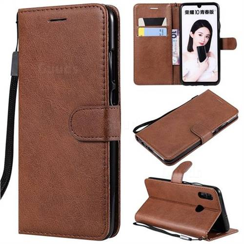 Retro Greek Classic Smooth PU Leather Wallet Phone Case for Huawei Honor 10 Lite - Brown