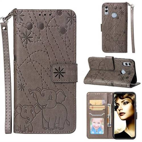 Embossing Fireworks Elephant Leather Wallet Case for Huawei Honor 10 Lite - Gray