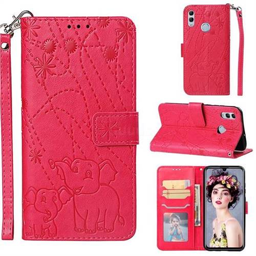 Embossing Fireworks Elephant Leather Wallet Case for Huawei Honor 10 Lite - Red
