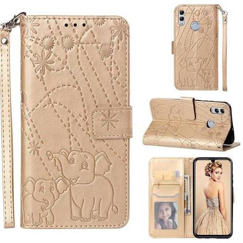 Embossing Fireworks Elephant Leather Wallet Case for Huawei Honor 10 Lite - Golden