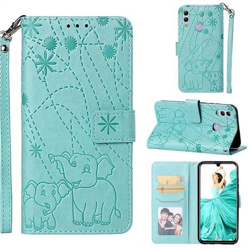 Embossing Fireworks Elephant Leather Wallet Case for Huawei Honor 10 Lite - Green