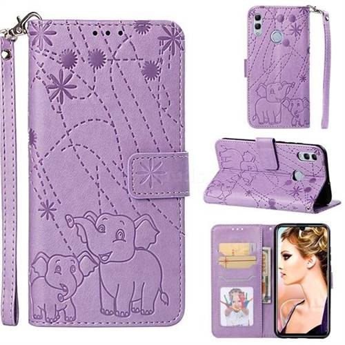 Embossing Fireworks Elephant Leather Wallet Case for Huawei Honor 10 Lite - Purple