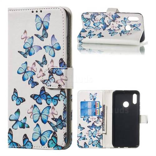 Blue Vivid Butterflies PU Leather Wallet Case for Huawei Honor 10 Lite