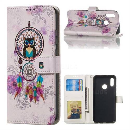 Wind Chimes Owl 3D Relief Oil PU Leather Wallet Case for Huawei Honor 10 Lite