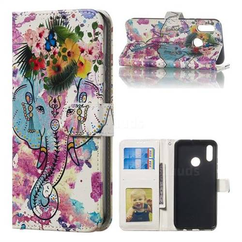 Flower Elephant 3D Relief Oil PU Leather Wallet Case for Huawei Honor 10 Lite
