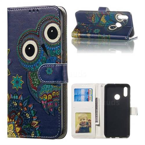 Folk Owl 3D Relief Oil PU Leather Wallet Case for Huawei Honor 10 Lite