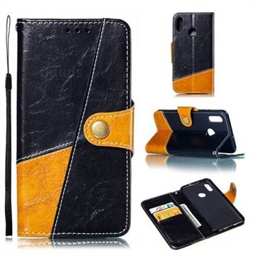 Retro Magnetic Stitching Wallet Flip Cover for Huawei Honor 10 Lite - Black