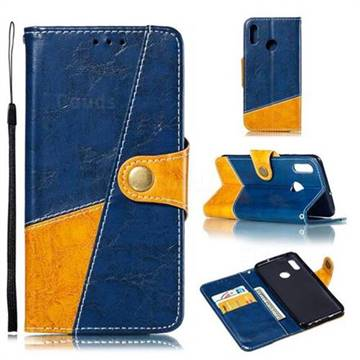 Retro Magnetic Stitching Wallet Flip Cover for Huawei Honor 10 Lite - Blue