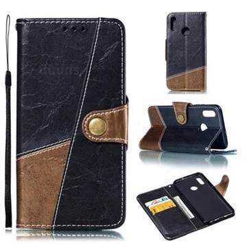 Retro Magnetic Stitching Wallet Flip Cover for Huawei Honor 10 Lite - Dark Gray