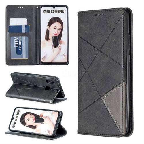 Prismatic Slim Magnetic Sucking Stitching Wallet Flip Cover for Huawei Honor 10 Lite - Black
