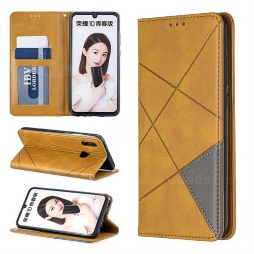 Prismatic Slim Magnetic Sucking Stitching Wallet Flip Cover for Huawei Honor 10 Lite - Yellow