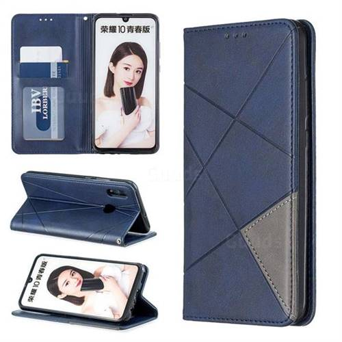 Prismatic Slim Magnetic Sucking Stitching Wallet Flip Cover for Huawei Honor 10 Lite - Blue
